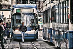 In Zurich, pedestrians and trams rule the streets and the private automobile is pushed to the sidelines.