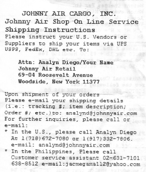 Johnny Air instructions