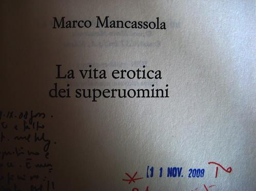 Marco Mancassola, La vita erotica dei superuomini; Rizzoli 2008: frontespizio (part.)