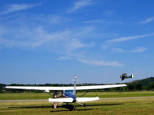 Biplane landing.