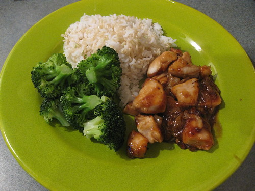 Sweet Soy Glazed Chicken and Onions with Steamed Broccoli and Rice
