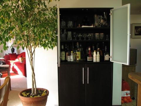 Bar Cabinet open
