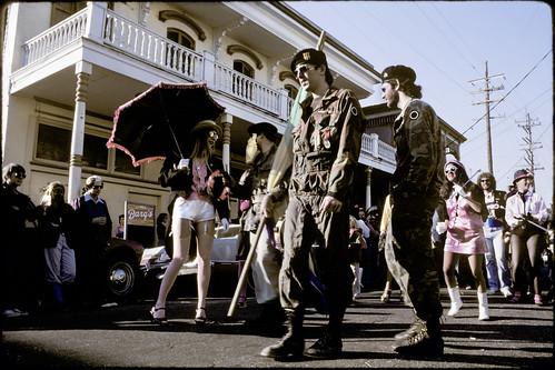 bb gun warriors escort the Krewe of Kosmic Debris Mardi Gras 1980-82?? one more time/ second line by you.