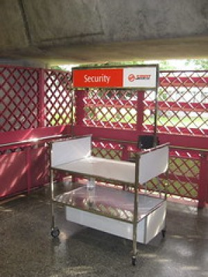 Subway security stand. I was stopped at one of these with my giant backpack on our first day in Singapore