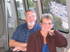 Jeanne & Robert heading up the hill to the Getty