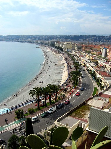 The Nice beach seen from the top of the Colline du Chateau.