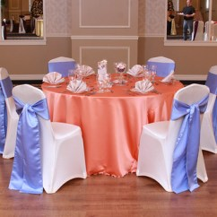 Function Accessories Chair Covers Armchair Tray Satin Choice Party Linens Inc Coral Camel Napkins Spandex Ivory Cover With Periwinkle Sash