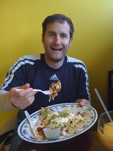 Taco enthousiast Jaren is a champion, but I doubt he could east more than 10 tacos in a sitting let alone 27.  For shame...