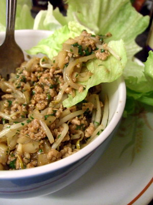 chinese minced pork with lettuce cups