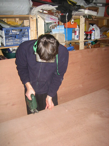 Cutting the wood with a jigsaw. The jigsaw we have at home is about a billion times easier to use that the school one.