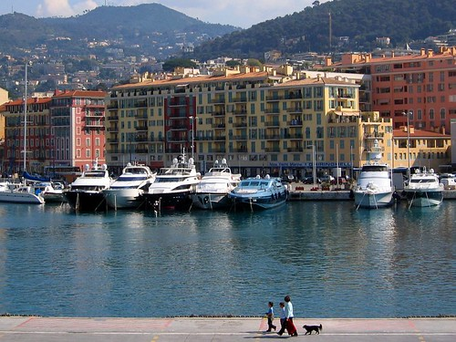 Nice harbor, full of beautiful yachts and colorful fishing boats.