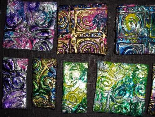 Finished Brocade Polymer Clay Closeups