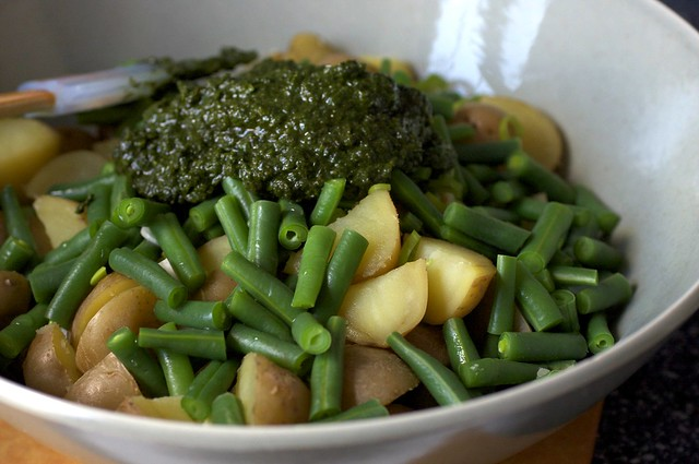 potatoes, beans and pile-o-pesto