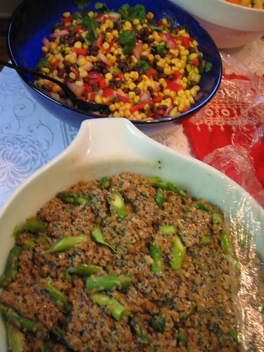 close up of corn and black bean salad and quinoa salad