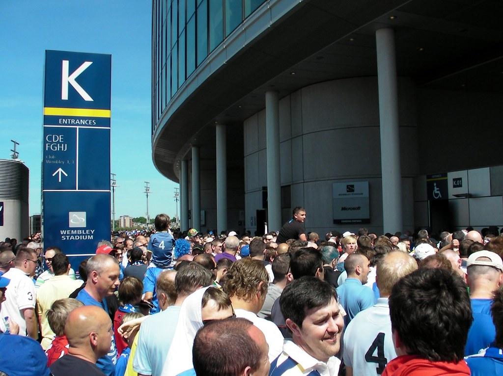 Wembley-Blackpool v Cardiff-K block entry to stadium