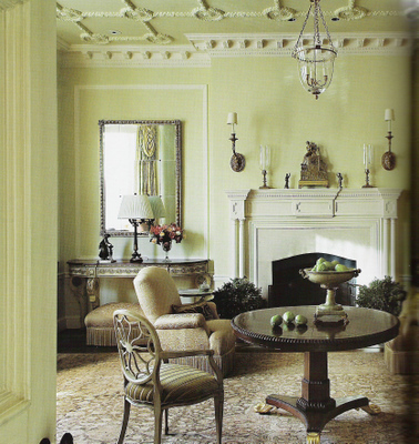 Green living room + classical Beaux Arts architecture: Benjamin Moore 'Greenmount Silk', by Barry Dixon