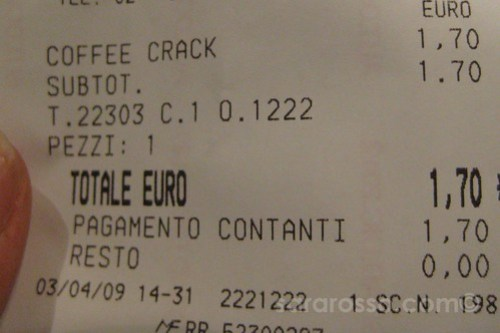 Only €1,70 for Coffee Crack