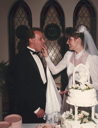 Feeding Wedding Cake to Husband