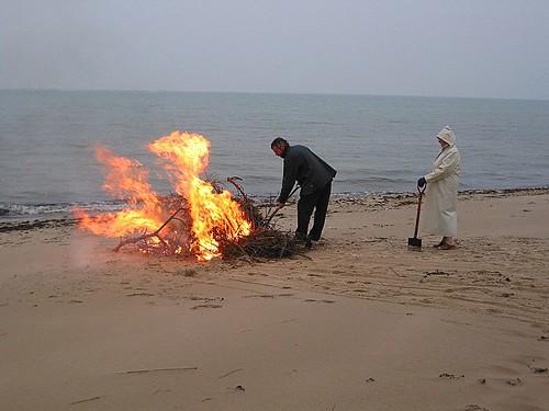 A bonfire on the beach
