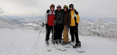 Hamish and sons at the Isola Mountain peak at Rusutsu