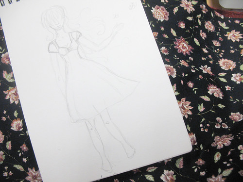 summer dress sketch and fabric
