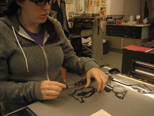 Arranging Negatives for making plate.