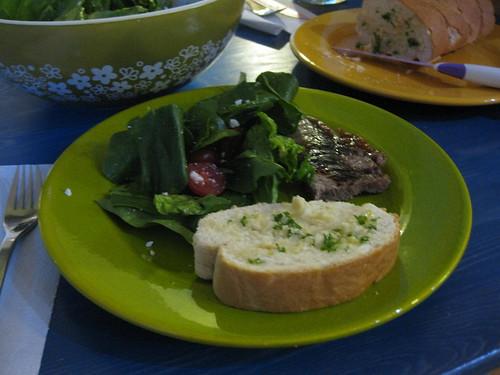 Steak, Salad, Toast