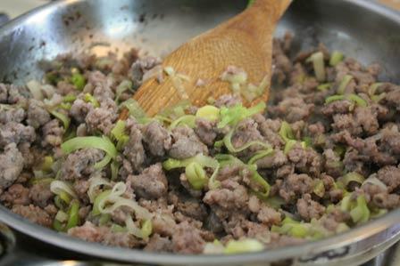 Cooking Sausage and Leeks