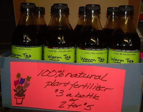 Bottles of worm tea