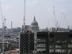 St Paul's Cathedral and lots of cranes, from the top of the Monument, London