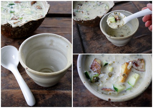 Sorrel and Roasted Potato Soup Triptych
