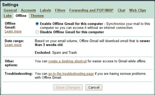 gmail offline settings panel