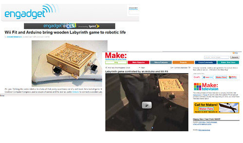 WiiFit Robotic Labyrinth makes it on Makezine and Engadget