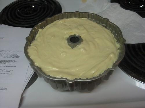 batter in bundt cake pan
