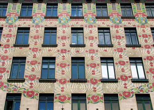 The beautiful facade of Majolica house, designed by Otto Wagner by you.