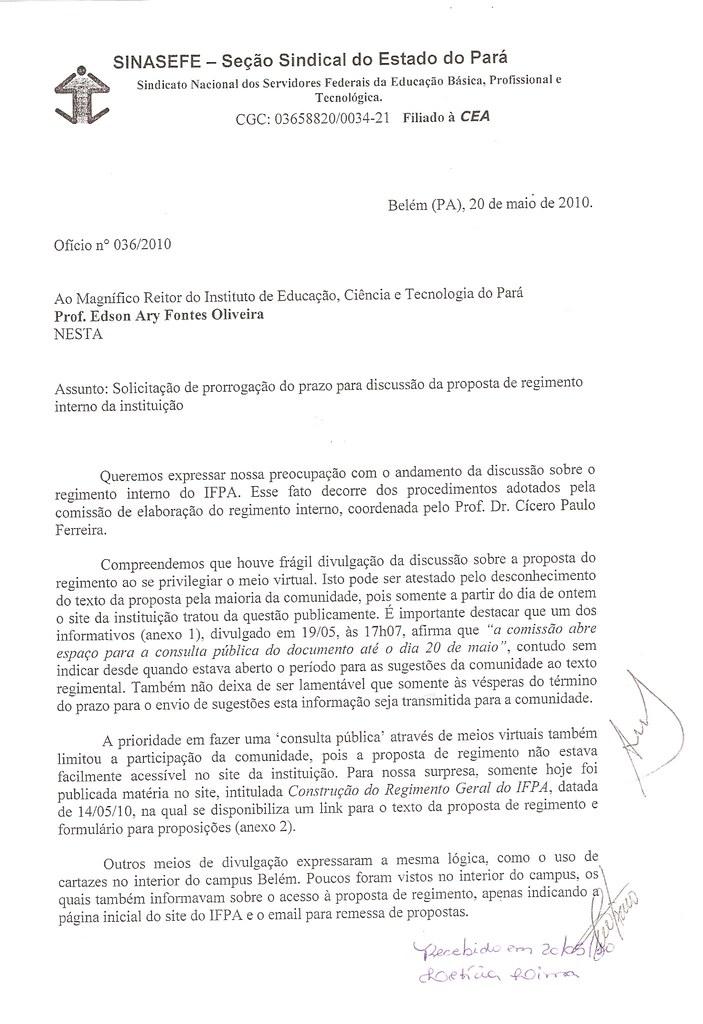 Ofício n°036-2010 - pag.01