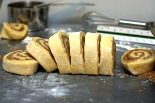 cinnamon buns, sliced