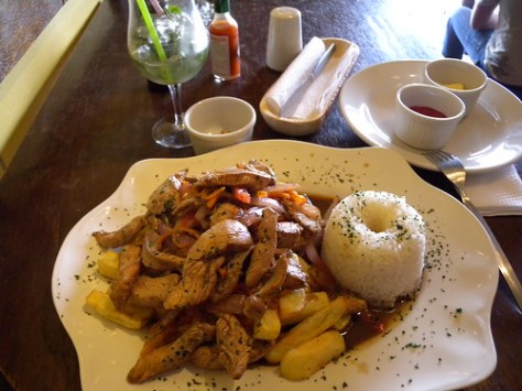 chicken, rice and fries