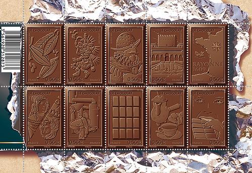 A série de selos possui cheiro e gosto de chocolate
