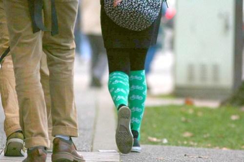 Green bike socks