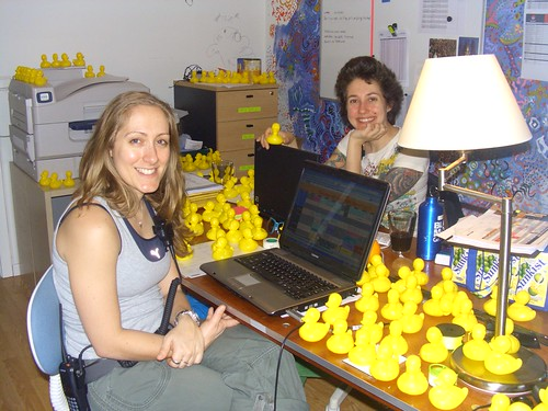 Anna and I enjoying our duck-filled office
