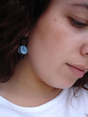 button earrings - blue version