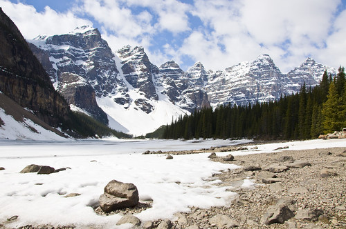 Moraine Lake still covered in ice and snow in the last week of May