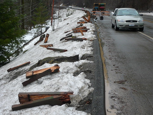 Guardrail ripped out by Washington State Dept of Transportation.