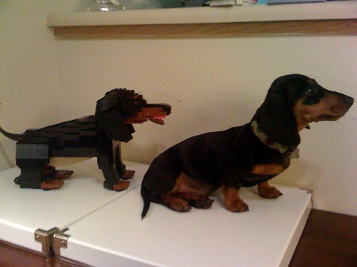 LEGO dachshund puppy sculpture