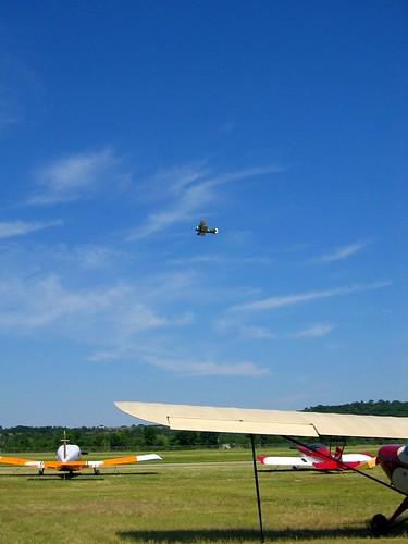 Biplane flying.