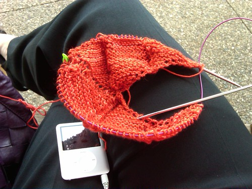 1:37.  a little post lunch knitting (new project!)