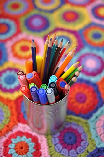 New pens and crochet-in-progress