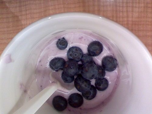 blueberries and yogurt