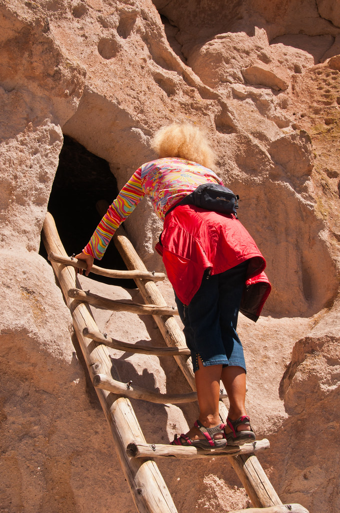 Chris examines an Anasazi house